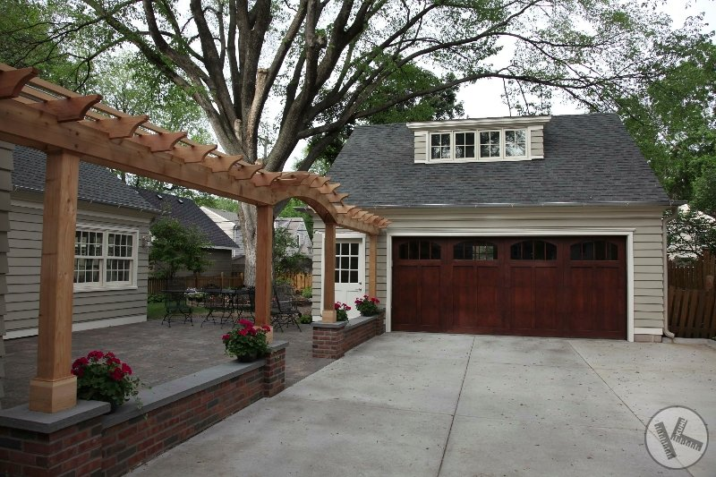 Seat Wall with Slate Top and New Wood Trellis in Edina