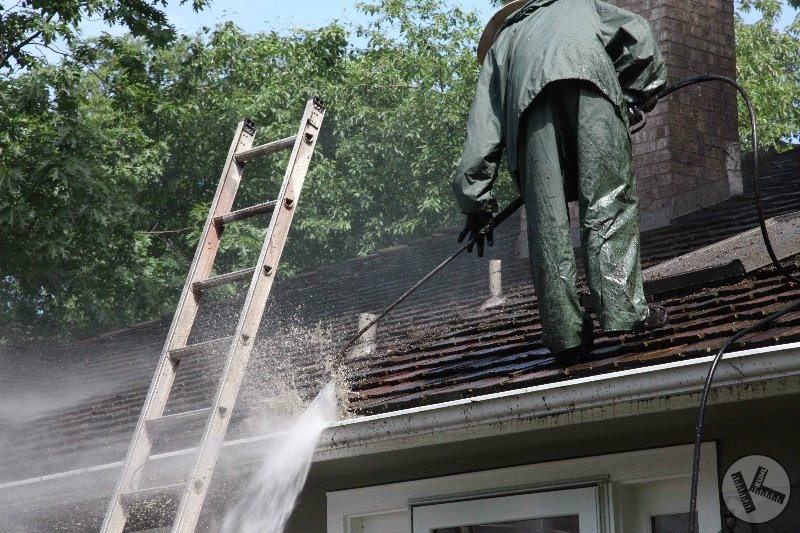 Pressure Washing Gutters While Cleaning a Cedar Roof (Minnetonka, MN)