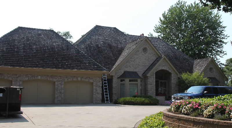 BEFORE: Wood roof in Shorewood Minneapolis Suburb before washing and cleaning by Kuhl