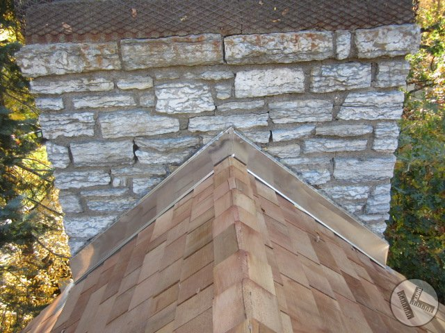 Chimney Flashing Repair on a Cedar Roof in Orono