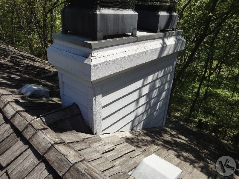 BEFORE: Leaking Flashing on Wood Chimney (Orono, MN)