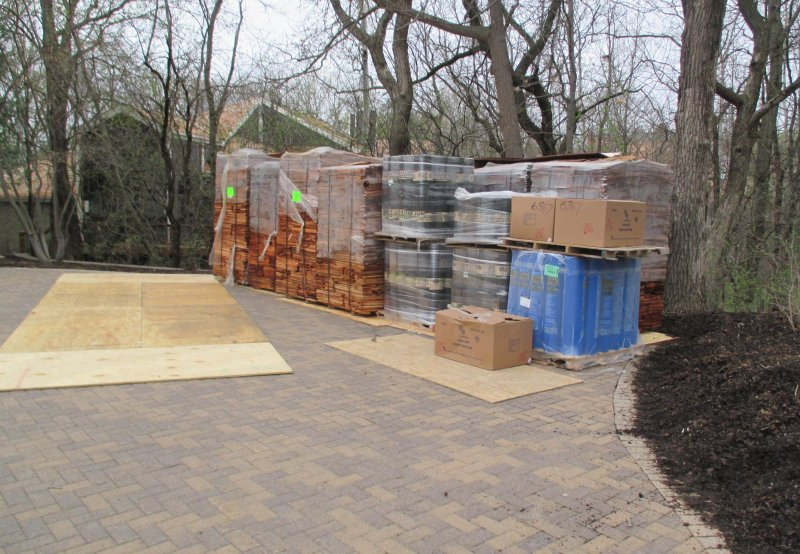 protecting a paver driveway during an Edina roof replacement job