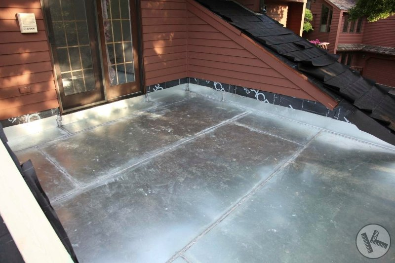 Flat Roof Under a New Deck Made of Steel in Edina