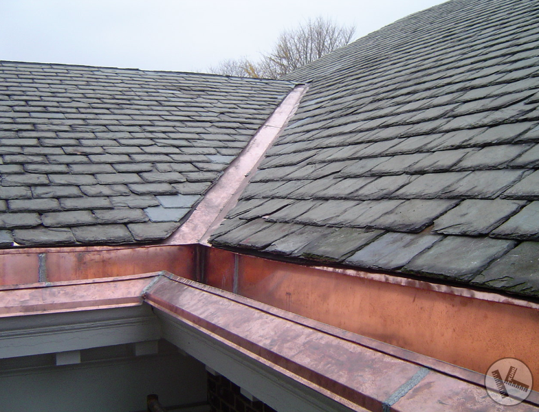 Lovely Copper Integral Gutter On Slate Roof