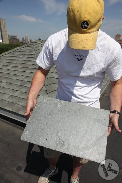 Kuhl Guy Holding Slate Roof Tile (Minneapolis)
