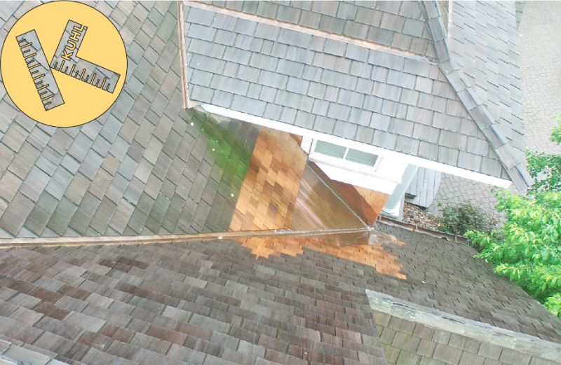 Leak in roof flashing repaired by Kuhl small jobs devision Shorewood.png