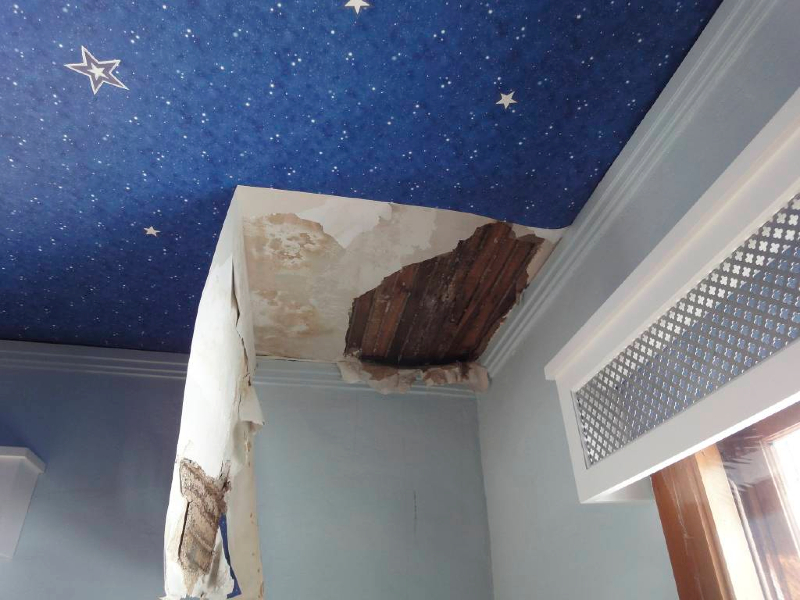 Ceiling damage repair cost in Minneapolis caused by ice dam