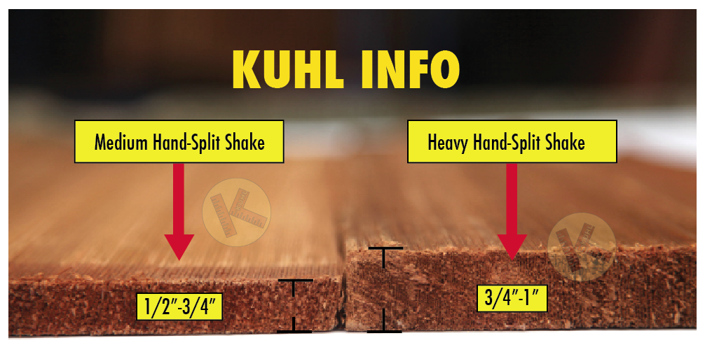 "Heavy hand-split 24"" wood shake versus Medium hand-split 24"" wood shake in Minneapolis - Kuhl's Contracting"