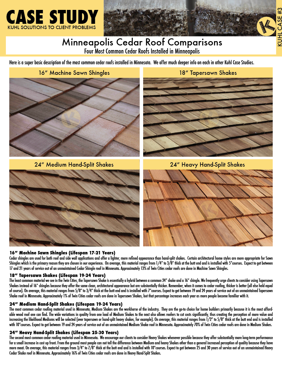 Minneapolis Cedar Roof Comparisons