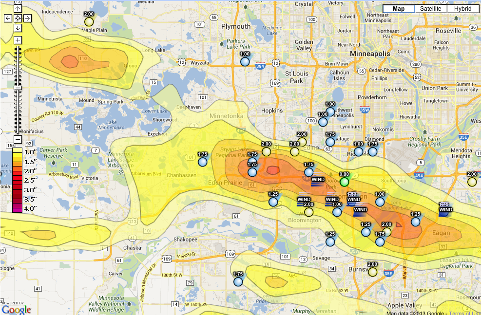 Map showing hail storm path in Minneapolis