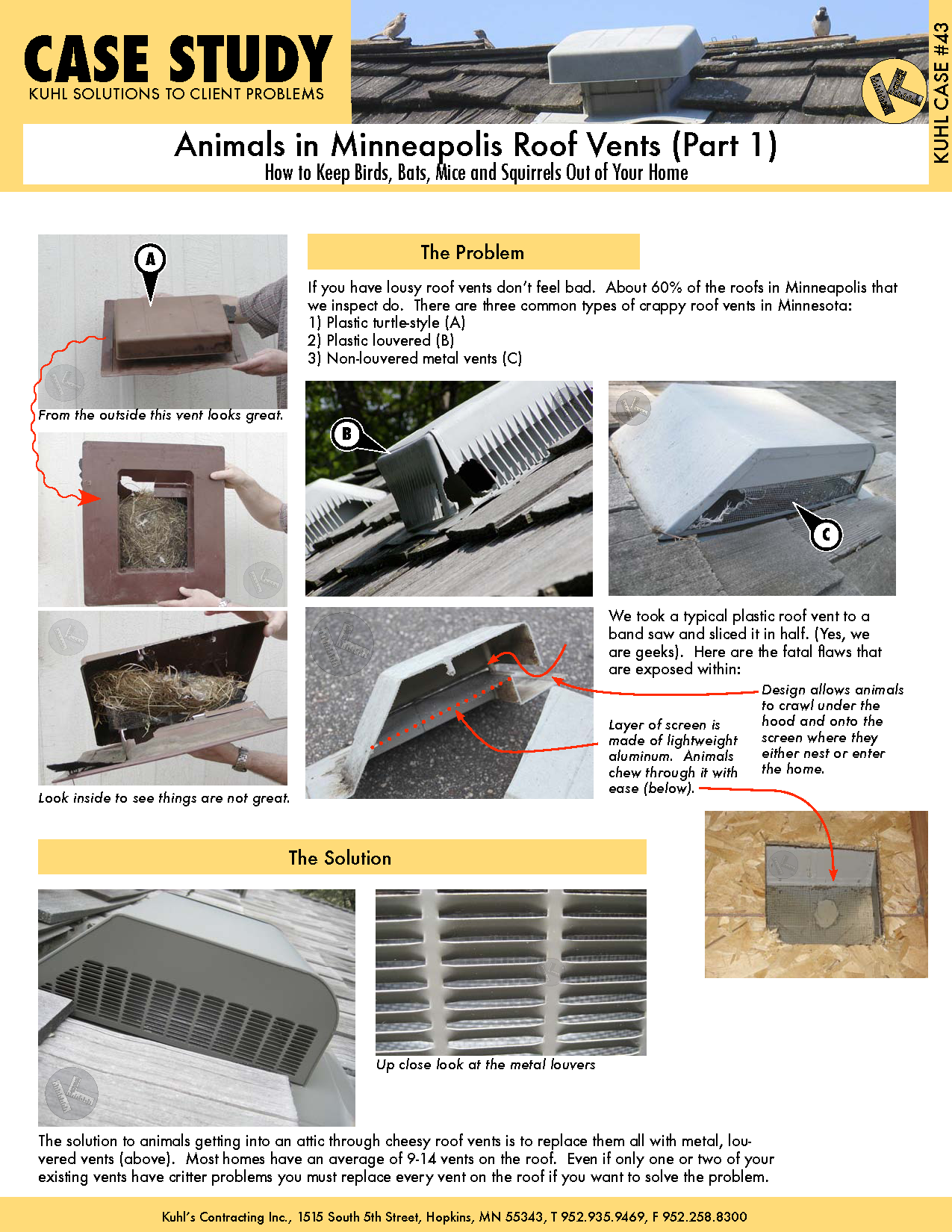 Animals in Minneapolis Roof Vents (Part 1): How to Keep Critters Out of Your Home